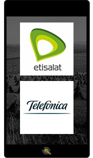 Logos Etisalt and Telefonica, Araxxe customers in Revenue Assurance, Billing Verification & Telecom Fraud Detection