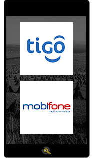 Logos of telecommunication operators Tigo and Mobifone